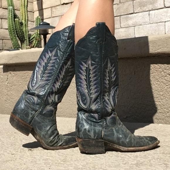 b2e50ecb722 Vintage Larry Mahan's blue Phoenix cowboy boots 5